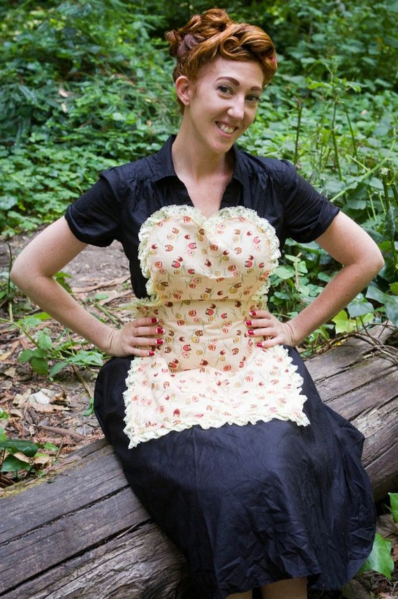 Brown and Beige upcycled Owl apron Vintage inspired with yellow lace