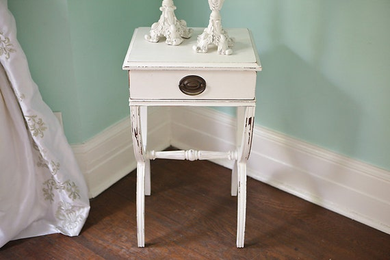 Shabby Chic Nightstand White Distressed By