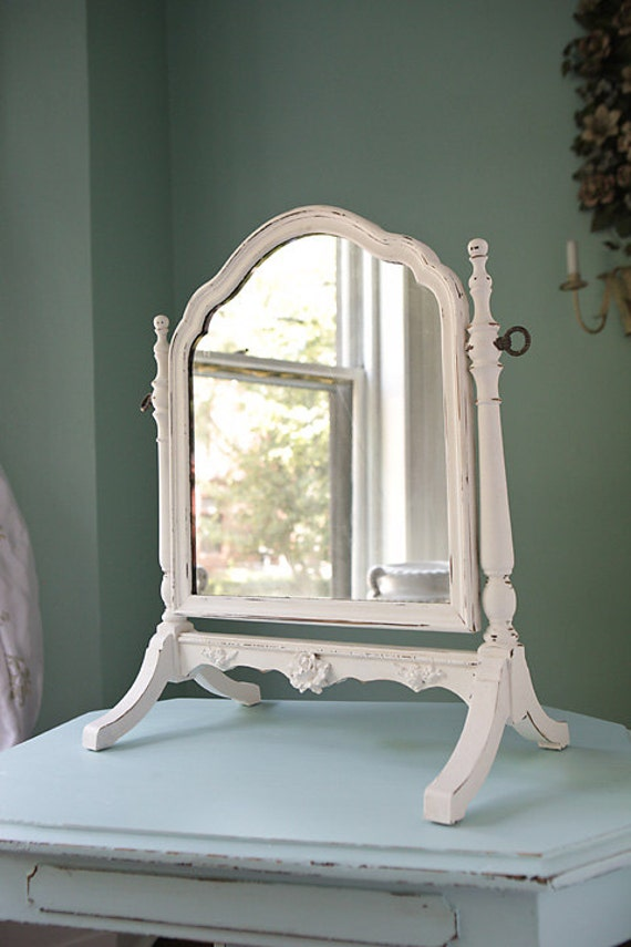 white distressed mirror table top mirror shabby chic white distressed antique standing 1024