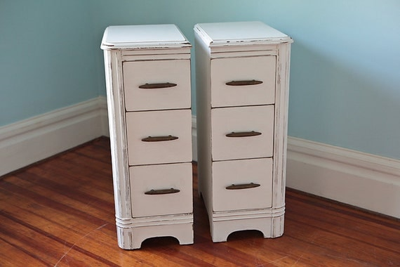 Narrow pair nightstand s shabby chic white cottage antique for Narrow bedside table night stand