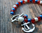 Anchor red white & blue Nautical Jewelry / eight inches / Nickle free