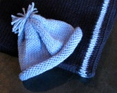 Knitted Baby Blanket and Matching Hat in Navy and Baby Blue