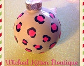 Hand painted Leopard Print Glass Christmas Ornament White Hot Pink and Black Ornament Leopard Ornament Glass Ornament Christmas Decoration