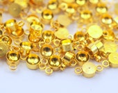 50 Gold Tone Brass Charms Rhinestone Base Setting Connectors, Findings  (8x4 mm)
