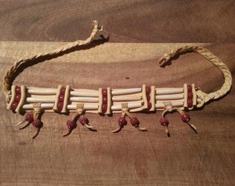 Native american bone beaded choker