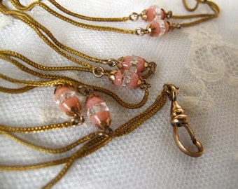 Sale Antique Victorian Watch Chain,Vintage Gold Filled Chain Pink Glass Ladies Watch Chain Layering Necklace,Downton Abby Estate Vintage