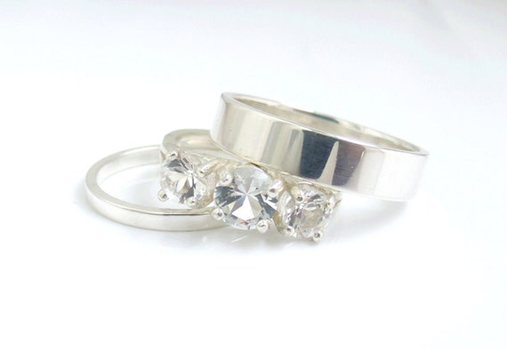 wedding ring set white topaz sterling silver band by