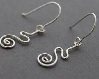 Sterling Squiggle Earrings, dangles, spirals, snake, handmade, drop earrings