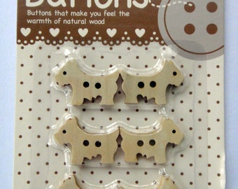 Puppy Dog Wooden Buttons For Sewing - Set of 6 - 24mm x 17mm