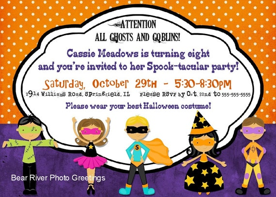 items similar to halloween party invitation  halloween birthday, Birthday invitations
