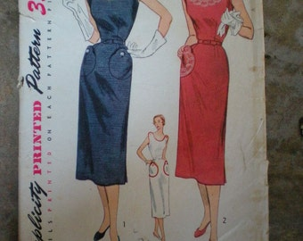 Vintage 1951 Simplicity 3608 Dressy One Piece Dress Pattern With TRANSFER