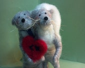 Otters Bride and Groom Felted Wool Fugures