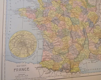 1901 Map France - Vintage Antique Map Great for Framing 100 Years Old