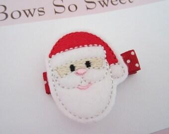 Santa Christmas Felt Hair Clippie (Style 2)...Santa Claus...Girls Hair Bows...Girls Hair Clips