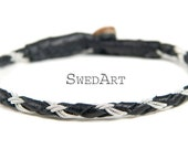 SwedArt Bracelet B18 Rope Black Lapland Sami Reindeer Leather with Antler Button, Gilles Marini and Other Male Celebs, X-SMALL