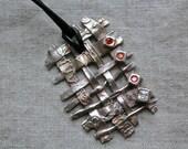 Woven pendant / woven necklace / woven silver