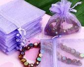 100 X Purple Organza Wedding Favor Gift Bag Pouch 90x70mm  PK36