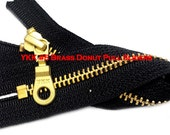 """19"""" Exposed YKK with a Fancy Pull Metal Zipper YKK Number 5 Brass Closed Bottom -  Color Black By each (select your own style of slider)"""