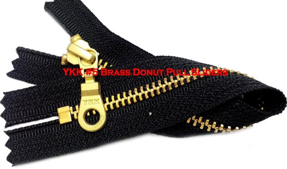 "7"" Exposed YKK with a Fancy Pull Metal Zipper YKK Number 5 Brass Closed Bottom -  Color Black By each (select your own style of slider)"