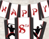 "PRINT & SHIP Ninja Karate Birthday Party Pennant Banner (""Happy 1st Birthday"")  >> personalized and shipped to you <<"