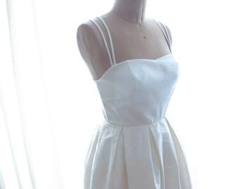 Maggie Silk Dupion Wedding Dress with Short Pleated Skirt