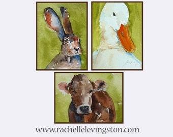 Large nursery Wall Art cow artwork watercolor painting of cow nursery room decor PRINT SET poster duck bunny art farm animal painting 11x14