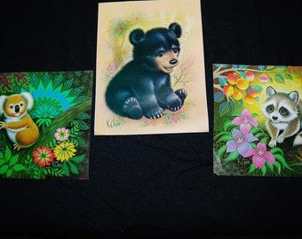 Vintage Animal Prints K. Chin 70s Adorable Trio
