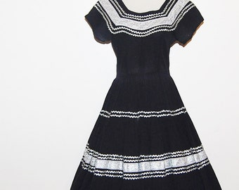 Vintage Dress 50s Black and Silver Rockabilly