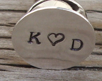 Hand stamped personalized tie tack in sterling silver- lapel pin for Men- monogram initals fathers day personalized mens gift wedding party