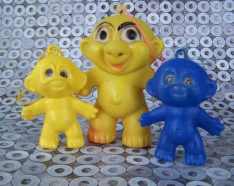 Vintage Toys 1960s Carnival Soft Plastic Troll Dolls Lot of 3 Goon Dolls , Midway Game ,early troll doll knock off Carnival Prizes