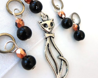 Mr. Mistoffelees  - Five Handmade Stitch Markers - 5.0 mm (8 US) - Limited Edition