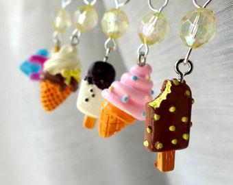 We All Scream For Ice Cream - Five Handmade Stitch Markers - Fits 5.0mm (8 US) To 9.0 mm (13 US) - Limited Edition