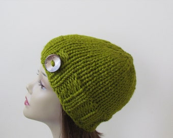Chunky Knit Hat Winter Hat Chunky Knit Beanie Womens Hat Teens Hat - Lemongrass with  Button Accent  - Ready to Ship - Direct Checkout
