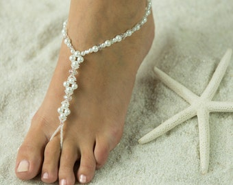 Crystals n Pearl, Barefoot Sandals, Foot Jewelry, Beach Wedding Sandals, Sparkle *FREE SHIPPING* Barefoot Sandals Made in all Colors!