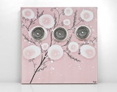 Baby Shower Gift Girl Nursery Art - Pink and Gray Canvas Flower Painting - Small 10x10
