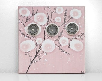 Baby Girl Gift Nursery Decor - Pink and Gray Canvas Flower Art Painting - Small 10x10