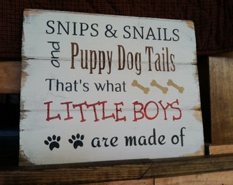 """Snips and Snails and Puppy Dog Tails thats what Little Boys are made of 13""""w x10 1/2""""h hand-painted"""