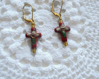 Red Cloisonne Cross Earrings Hand Wrapped
