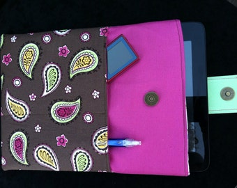 Tablet, IPad Sleeve, Cover, Case by JoJo Couture in Pink Brown Paisley