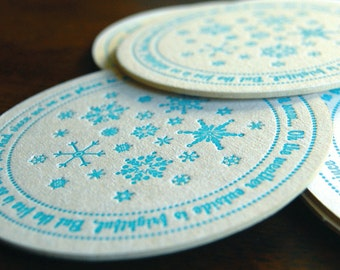 Let it snow Coaster- letterpress printed coasters, SET of 8