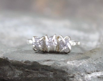 Three Stone Rough Diamond Ring  - Trio Rough Diamonds - 3 Raw Diamond Engagement Ring - Anniversary Ring