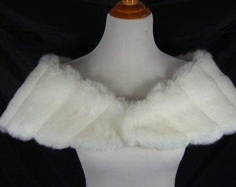 Creamy White Mink Wedding Stole, Mink Faux Fur Wrap, Off White Mink Shrug, Ivory Fur Wrap