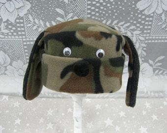Camouflage  DOGGY HAT, Boy's Fleece Hat, Child's Winter Hat, Camouflage Hat, Child's Fleece Hat