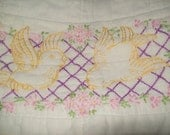 Sale  Vintage Emboidered Piece of Quilt