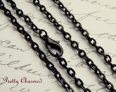 20 Black Vintage Style Rolo / Link Chain Necklaces 24 inches Long with Lobster Clasp Closure