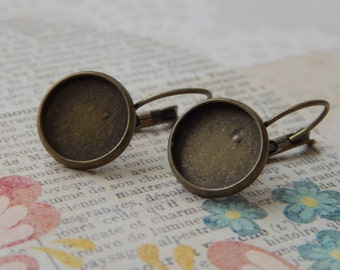 10 Pairs DIY Earrings - Bronze Blank Earring Settings, Lever Back with Matching Glass Cabochons