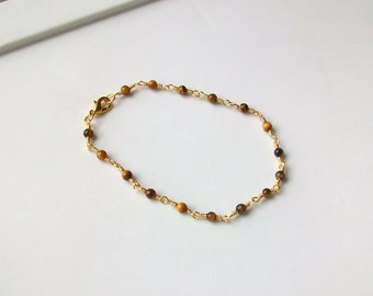 Tiger Eye Gemstone Wire Wrapped Chain Link Anklet - Ankle Bracelet