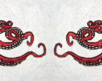 Small  Pair Octopus Iron on Patch in Red