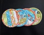 8.95 Coaster sale- Aqua, orange, green coasters- set of four- was 10.95