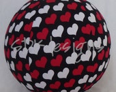 Toy Ball - Fabric Covered Balloon - Red & White Hearts on Black - Great Unique gift